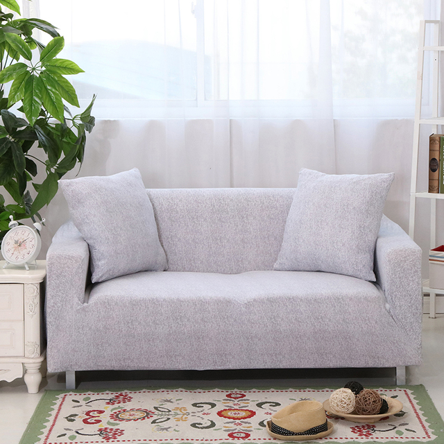 SunnyRain Polyester Elastic Sofa Cover Grey Sofa Slipcover For Sectional Sofa  3 Seat Sofa Cover Couch