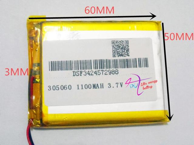 3.7V polymer lithium battery 305060 035060 MP5 MP4 electronic book point reading machine 1100MAH