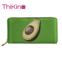 Thikin Cute Avocado Long Wallet Cool Summer Fruit Zipper Phone Bag for Kawaii Girls Clutch Purse Carteira Handbags Notecase 2019