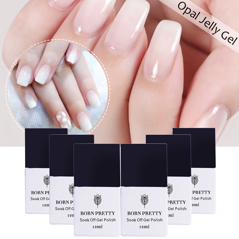 Gel Nail Polish Trends: 10ml BORN PRETTY Opal Jelly Gel Polish 1 Bottle White Soak