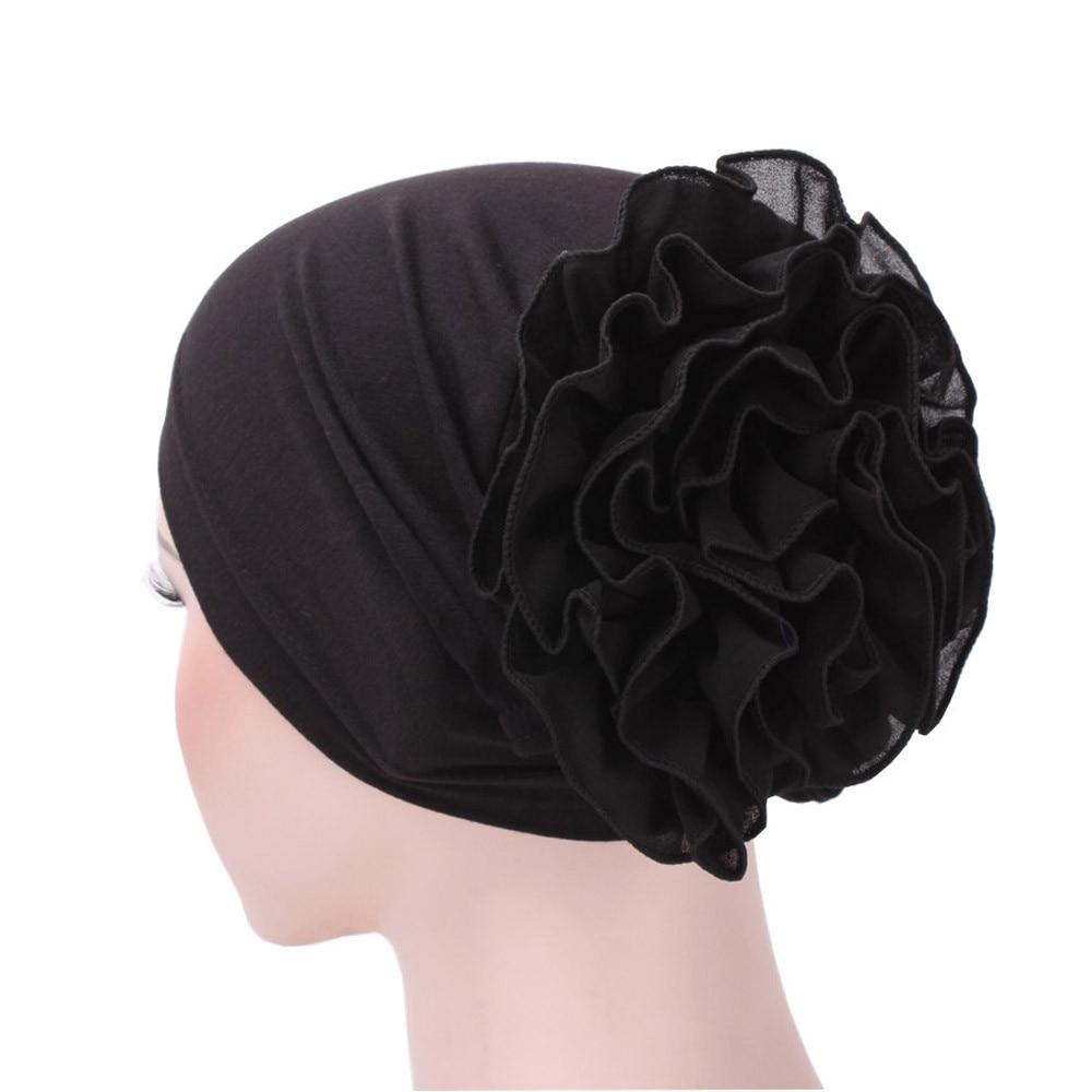 7 Colors Muslim Headgear Hat Women Chiffon Big Flower Ruffle Cancer Chemo шляпа Beanie Scarf Turban Head Fitted Adult Wrap Caps
