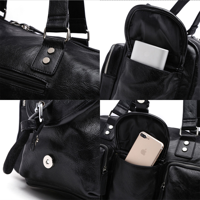 New Trend Mens PU Leather Sports Bag Outdoor Gym Kapasiti Besar Sukan - Beg sukan - Foto 6