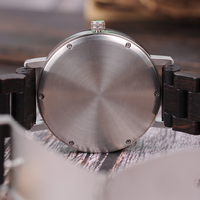 Relojes de madera para hombre combinación metal con caja 3