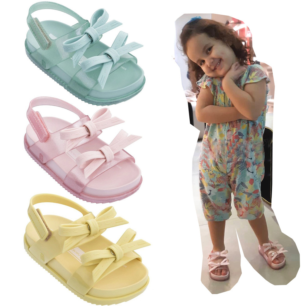 Melissa 2019 New Mini Bow Girl Jelly Sandals Children Sandals Kids Shoes Non slip Melissa Princess Shoe Toddler High Quality in Sandals from Mother Kids