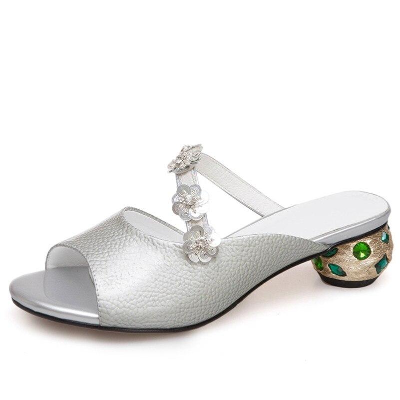 Véritable Chaussures Femme Pompes Vert Gladiateur En De Talons D'été Conasco Mode Cuir Fleurs argent Mariage Sandales Étrange Parti Femmes Bal VGUzMSqp