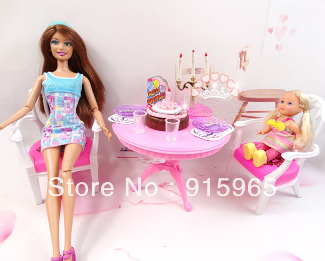 New arrival Fake play present play home for kids woman celebration time set furnishings for barbie doll