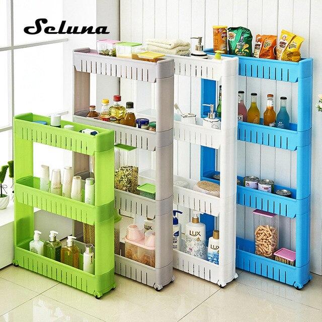 Móveis De Plástico Rack de Armazenamento Frigorífico Interspace Carrinhos de Cozinha Banheiro Espaço de Rack com Prateleiras De Rolos Intervalo 4-camada