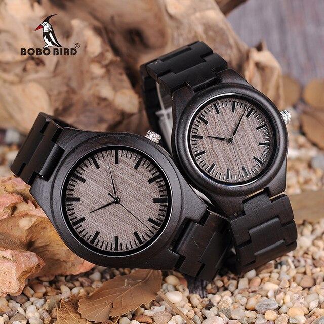 בובו ציפור רטרו אבוני עץ שעונים גברים באיכות גבוהה מותג מעצב זוגות שעון L O08