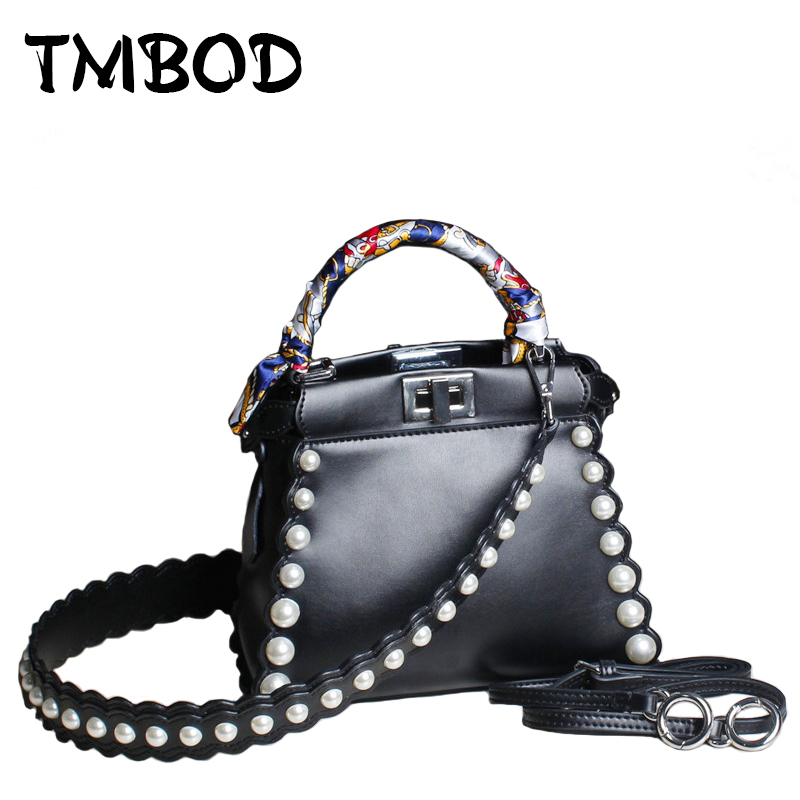 New 2017 Designer Small Pearl Tote with 2 Straps Fashion Women Split Leather Handbags Ladies Messenger Bags For Female an841