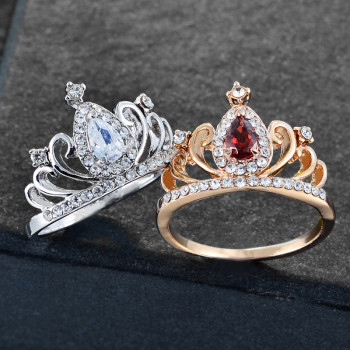 Crystal Crown Rings For Women Engagement Princess Queen Wedding Ring