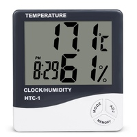 Indoor Room LCD Electronic Temperature Humidity Meter Digital Thermometer Hygrometer Weather Station Alarm Clock HTC-1
