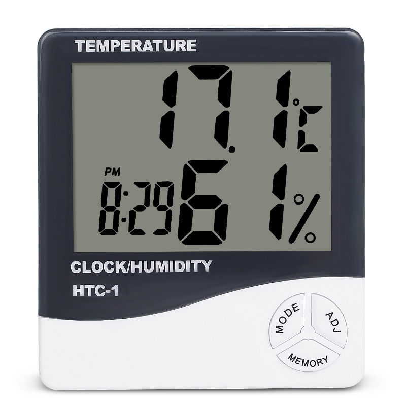 Indoor Room LCD Elektronische temperatuur-vochtigheidsmeter Digitale thermometer Hygrometer Weerstation Wekker HTC-1