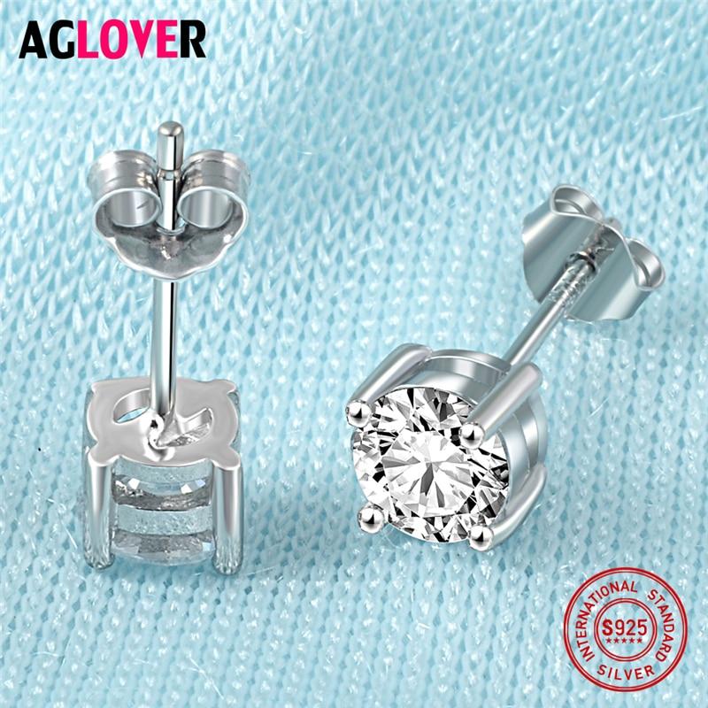 925 Sterling Silver Stud Earrings Classic Four Claw AAA Crystal 6mm Zircon Charm Woman Earrings 100 Sterling Silver Jewelry in Earrings from Jewelry Accessories