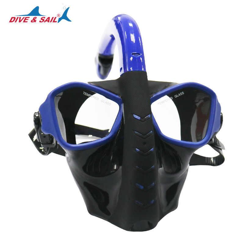 Подводная маска для подводного плавания с полным лицом трубка панорамный вид
