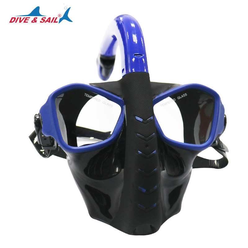DIVE&SAIL Underwater Full Face Snorkeling Diving Mask Snorkel Tube Panoramic View Anti Fog Anti-Leak Breakage-proof Diving Mask anti fog full face snorkeling mask diving snorkel 180 degree vision for gopro free breathing dive gear tube swimming diving mask