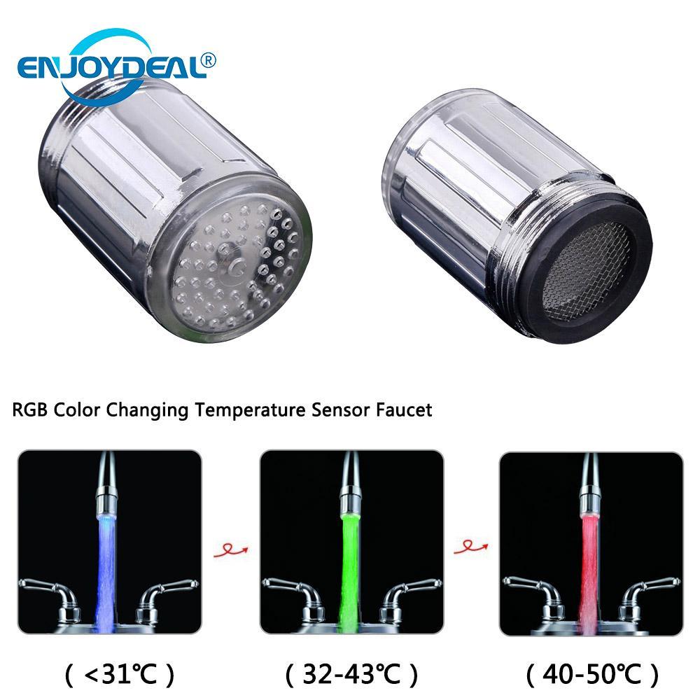 Novelty Light Glow LED Water Faucet Luminous Stream Light Blue Light 3Color 7 Colors Change Shower Tap Faucet Nozzle Head Light