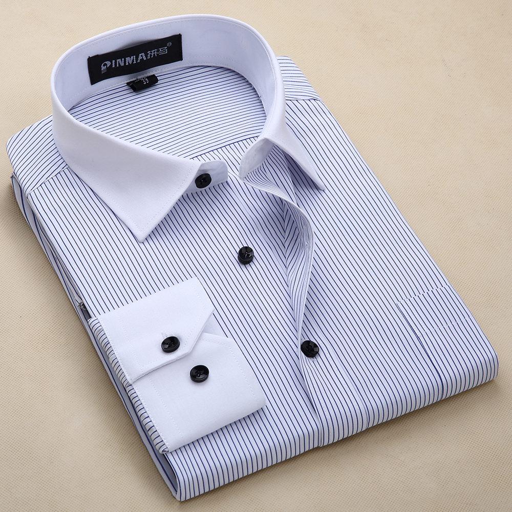 Quality Plus Size 8xl Slim Fit Long Sleeve Striped Black Button Patchwork White Collar Non-iron Easy Care  Mens Dress Shirts