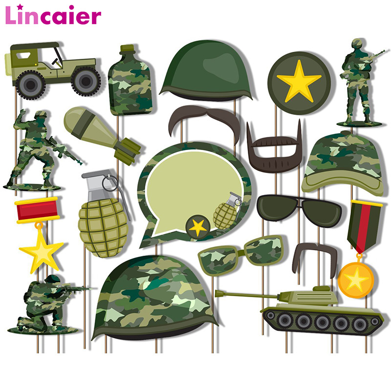 20pcs Classic Camo Army Military Photo Booth Props Kit Birthday Party Decorations DIY Photobooth Wedding Halloween Accessories