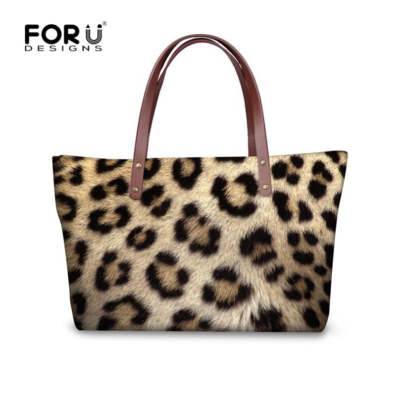 FORUDESIGNS Animal Fur 3D Leopard Printed Women Handbags High Quality Tote Cross Body Bag for Female Large Top-handle Beach Bags 3d printed mandala beach throw