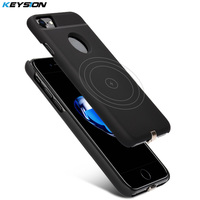 KEYSION Wireless Charger Receiver Case for iPhone 7 7 Plus 6 6s Plus QI Quality PC Frosted Power Charging Back Cover for iPhone7