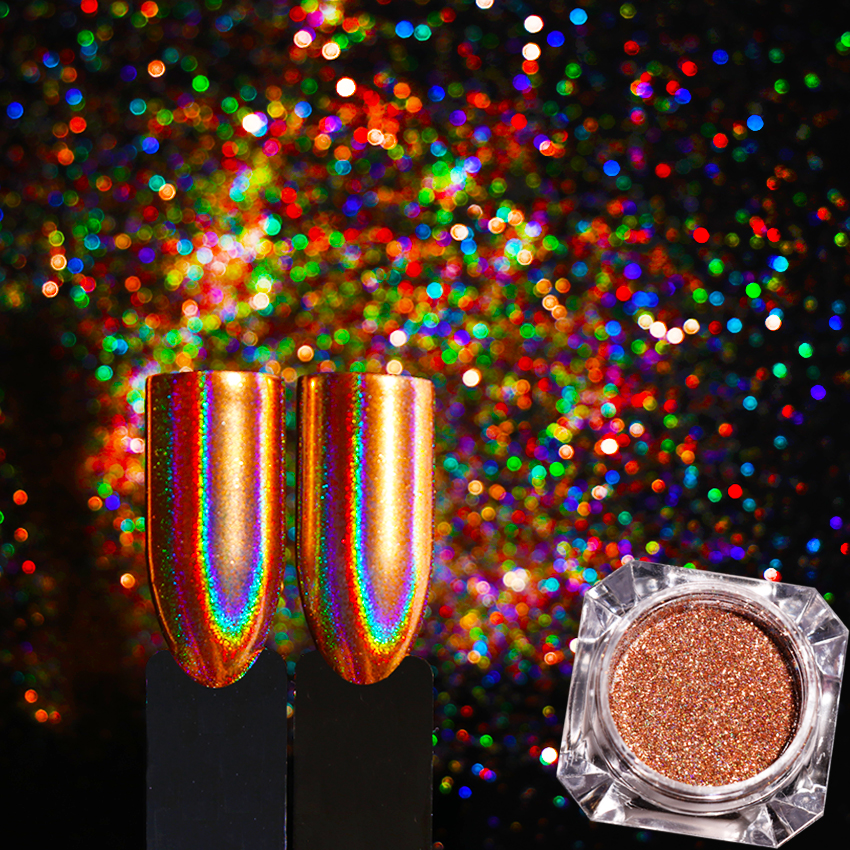 0.2g Champagne Gold Holographic Nail Glitter Flakes Mirror
