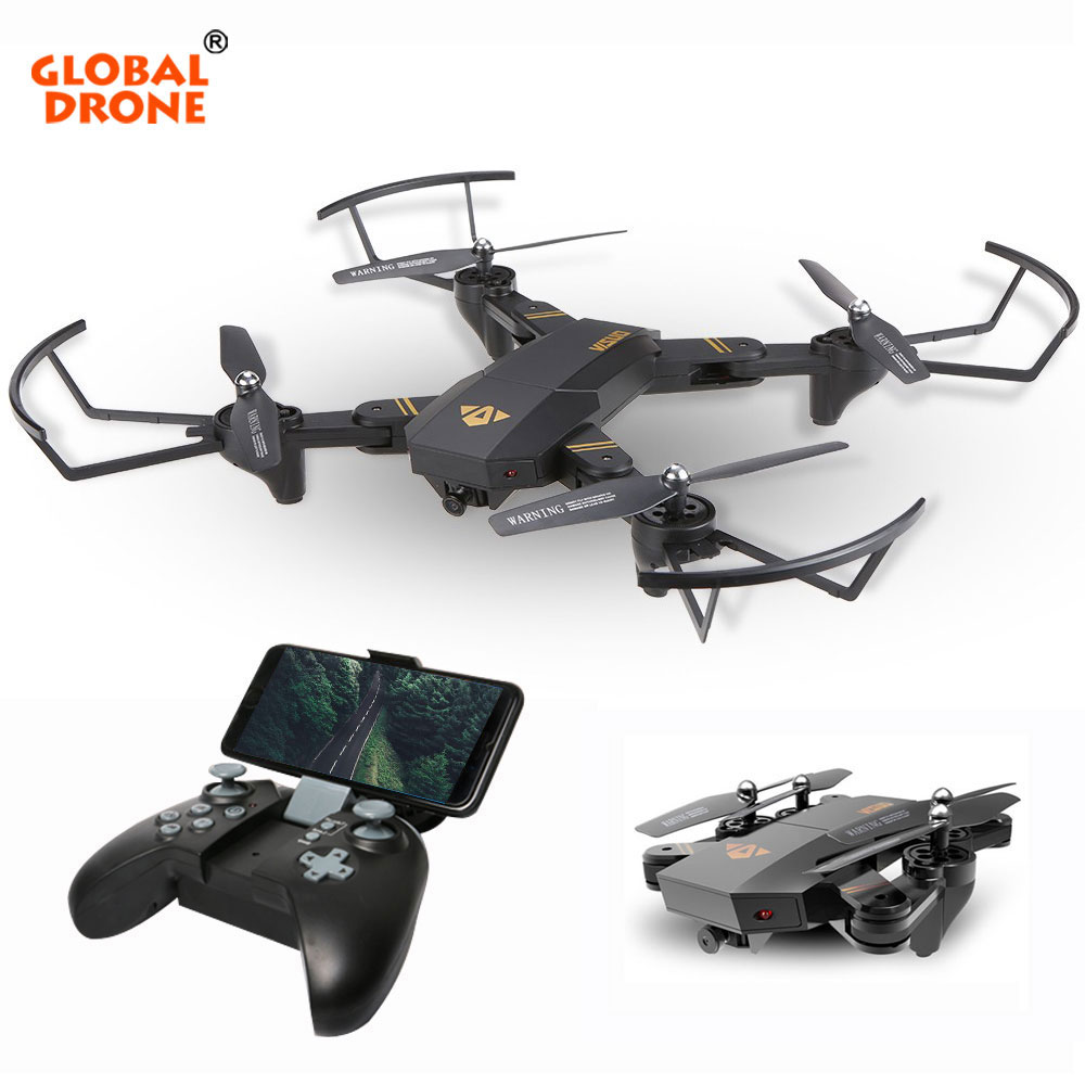 GLOBAL DRONE VISUO XS809HW Foldable Selfie Dron with HD FPV Camera Wifi Phone Control Pocket Mini Remote Control Toy RC Drone xs809w mini foldable drone rc selfie drone with wifi fpv hd camera headless mode rc quadcopter drone portable model