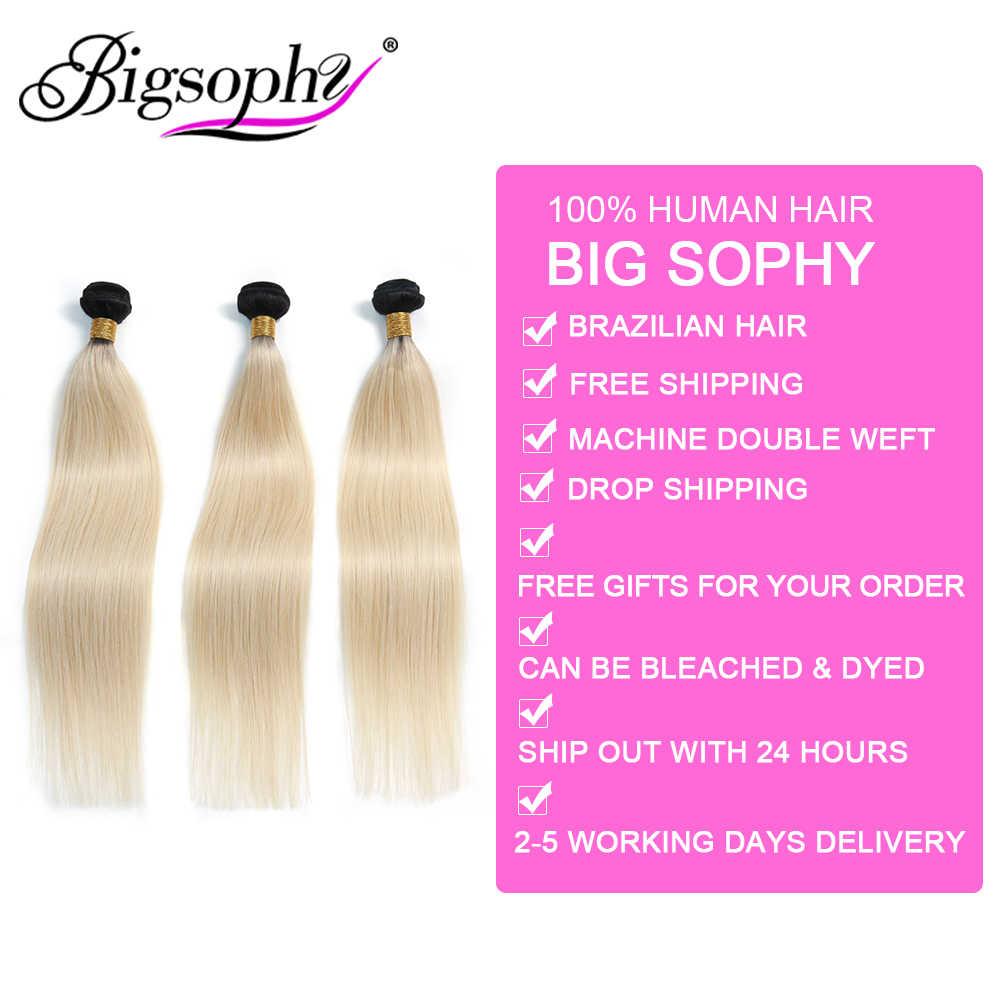 Bigsophy pelo mongol del pelo recto 1B/613 Color rubio Remy del pelo humano 3 paquetes de extensión del pelo humano Rubio Ombre paquetes