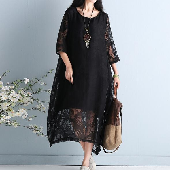 Plus Size Women Dress Summer Style Sexy Lace Patchwork Floral Vintage  Female Casual Vestidos Dress Show Thin Large Dress AF211 23bf87e4ae75