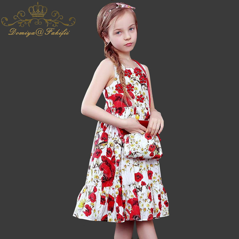 Baby Girls Flora Dress Princess Children Clothing Robe Fille Flower Kids 2018 Brand Summer Tunic Beach Dresses for Girls Clothes kids dresses for girls costumes 2017 brand girls summer dress ice cream print robe fille enfant princess dress children clothing