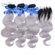 best quality 3pcs with closure ombre silver body wave brazilian grey hair weaving 1b/gray two tone hair for black women