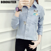 BOBOKATEER Embroidery Blouse Women Blouses White Long Sleeve Shirt Women Tops Blusa Womens Clothing Blusas Mujer