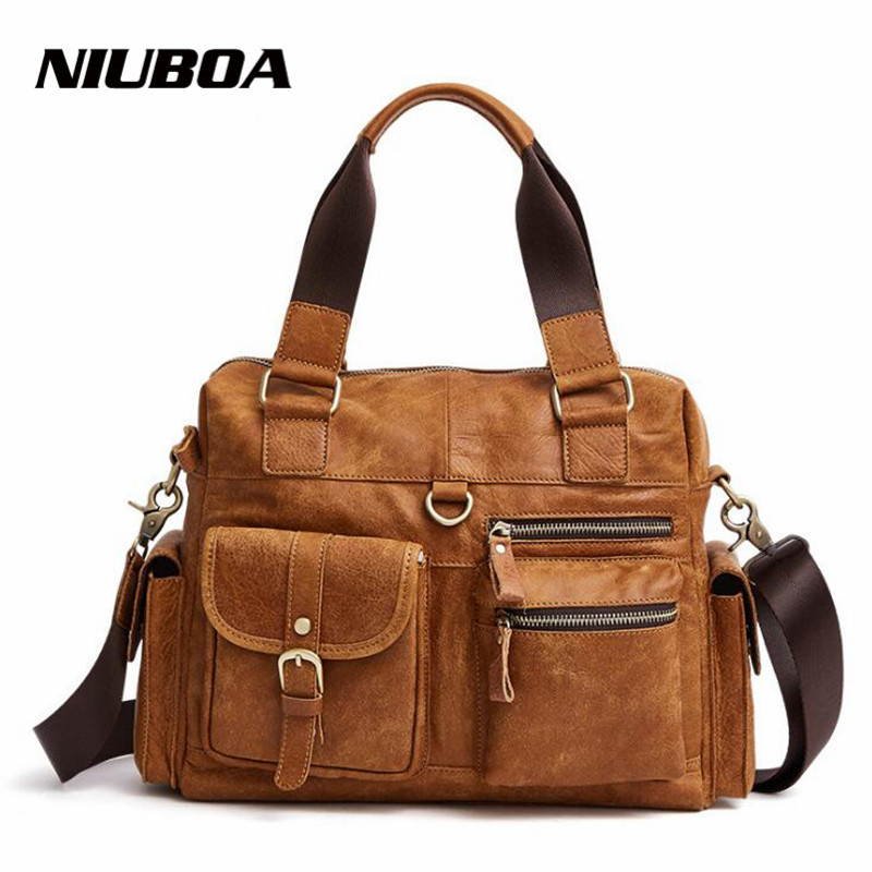 NIUBOA Genuine Leather Men Bag Vintage Male Messenger Bag Skin Leather Casual Shoulder Bags Holder Flap New Men's Crossbody Bags цена