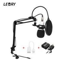 Leory BM 800 караоке конденсатор конденсаторный микрофон + 48 В Phantom Мощность + USB Звуковая карта для ПК Запись Studio КТВ пение