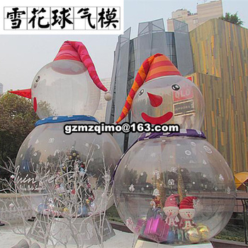 christmas Inflatable snow globe ball,blow up snow globe ball,inflatable christmas snowball for advertising