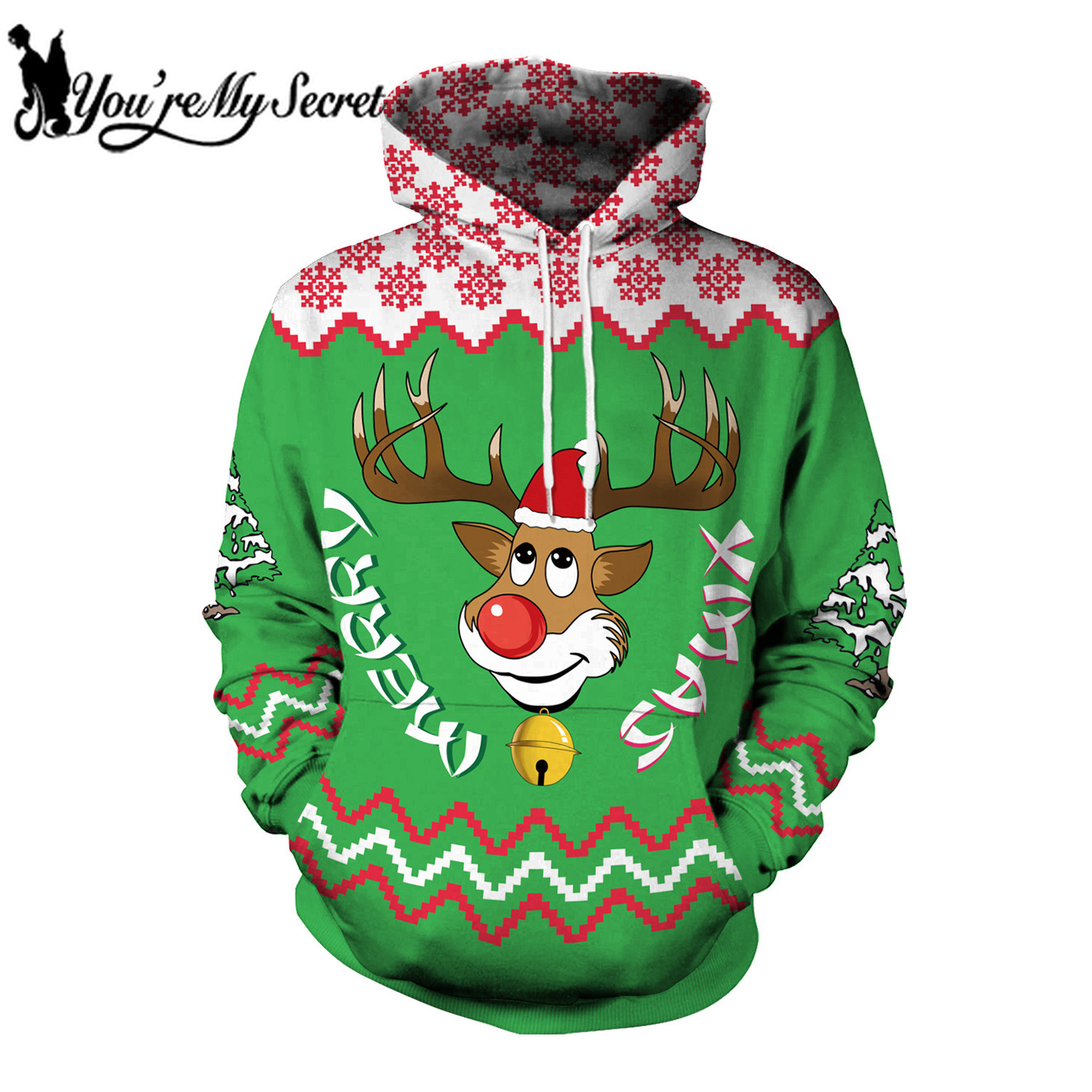 [You're My Secret] 2019 New Fashion Cute Deer Cartoon Christmas Festival Long Sleeve Sweatshirt Wih Hood Women Men's Hoodie