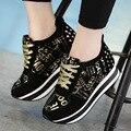 Mulheres Marca de moda De Alta Cunha Aumento Da Altura Shoes Mulher Plataforma Sapatos Casuais Sapatos Femininos Mocassins de Couro Genuíno Sapatos Único