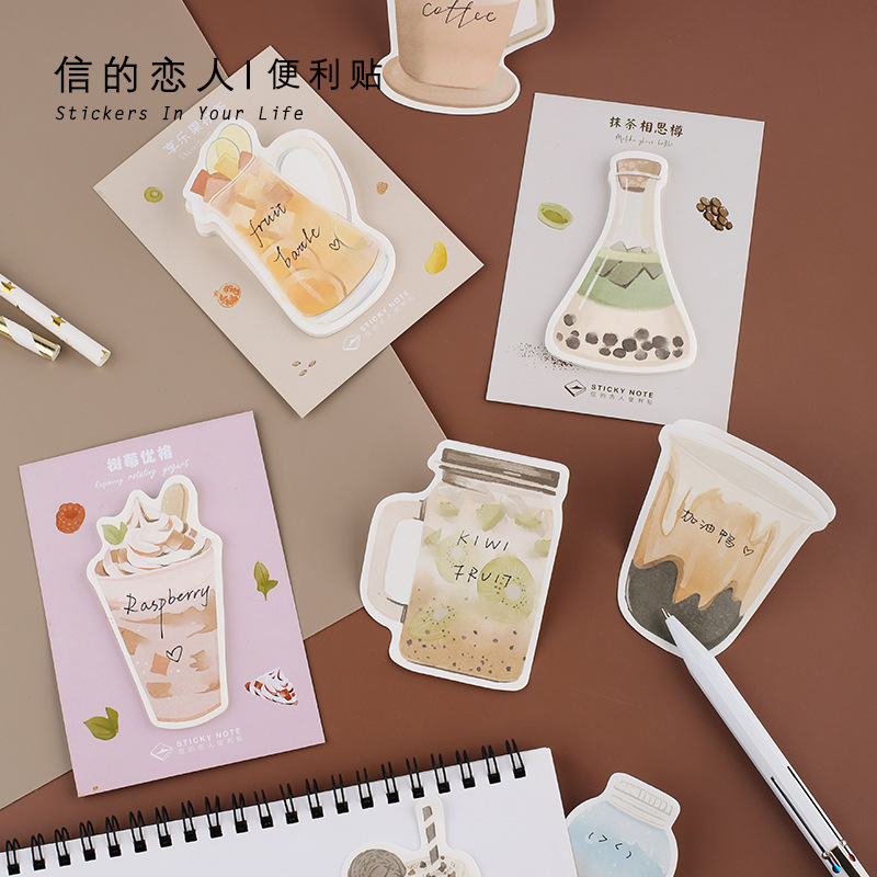 30 Sheets/pad Hot Cholate Cute Drink Memo Pad N Times Sticky Notes Bookmark Office Supply Escolar Papelaria