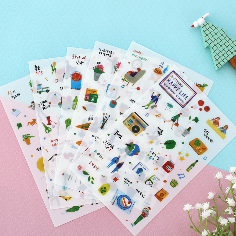 6 Sheet/lot Daily Life Cute Stationery Travel Pvc Kawaii Stickers Planner Diary Sticky Post It Sticker Papelaria Scrapbook Decor 45pcs lot cute forest animals decoration adhesive stickers diy cartoon stickers diary sticker scrapbook stationery label sticker