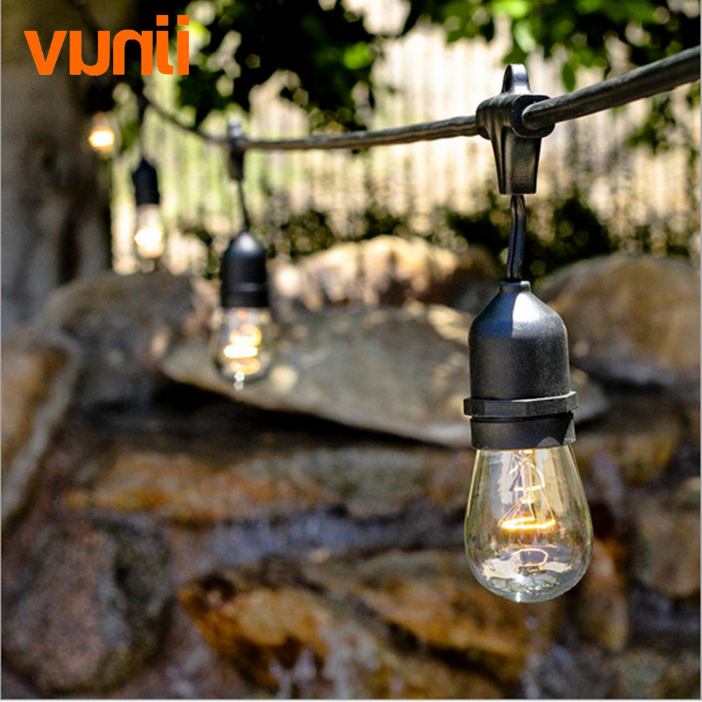 New! 48Ft(14.8M) Outdoor Vintage String Light with 15 Incandescent E27 Clear S14 Bulbs Black plug-in Cord Globe light String Set