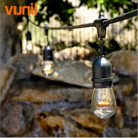New! 48Ft(14.8M) Outdoor Vintage String Light with 15 Incandescent E27 Clear S14 Bulbs Black plug in Cord Globe light String Set