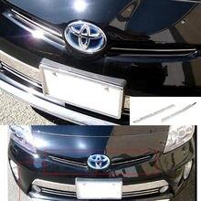 SUS304 de Aço Inoxidável Grade Dianteira Guarnição Superior Acessórios de Cobertura Estilo Do Carro Para Toyota Prius ZVW30 2012-2016