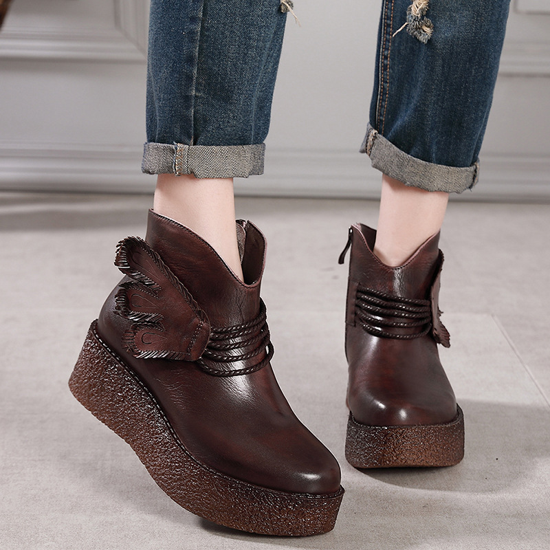 Women Genuine Leather Ankle Boots 6 CM High Heels Wedge Shoes Women Winter Embroidery Leather Martin Boot Brand Shoes 2018 Retro цены онлайн