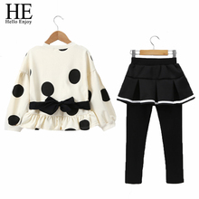 HE Hello Enjoy Boutique Kids Clothing Children Sets Autumn Winter 2018 Girls Long Sleeve Dot Tops+ Legging Pants Suits 2018 New children s wear 2018 autumn new girls bubble sleeves western style suits children s pullover tops