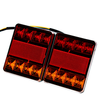 1 Pair 8 LED Car Truck Tail Light Warning Lights Rear Lamps Waterproof Tailights Rear Parts