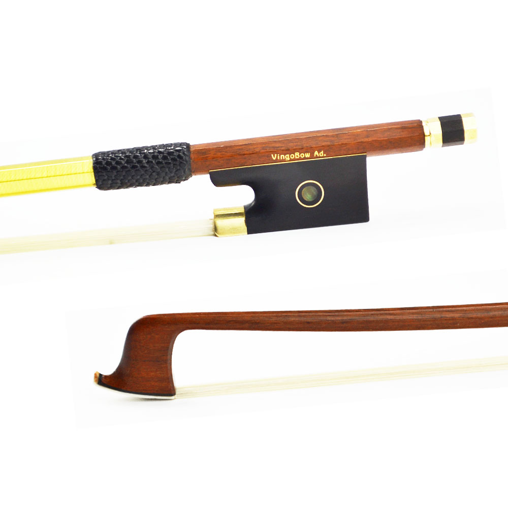 812V 3/4 Size Pernambuco VIOLIN BOW Ebony Frog Brass Alloy Fitted Natural White Horsehair Violin Parts Accessories 1 4 size 812vb pernambuco violin bow high density ebony frog with nickel silver good quality hair straight violin accessories