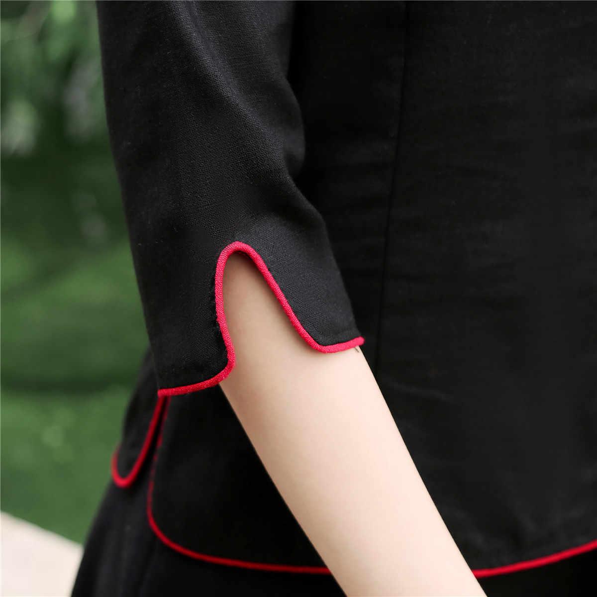 上海の女性の中国の伝統的な五分袖のコットンリネンブラウス 4 色