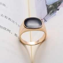 1 Pcs Fashion Men Ring Vintage Solid Polished Jewelry Classic Fashion Minimalist Design Silver Gold Color Black Enamel Men Rings