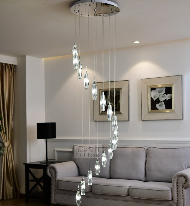Long Large diamond crystal lighting Spiral pendant lamp for stairwell hanging light Hotel stairway G4 LED