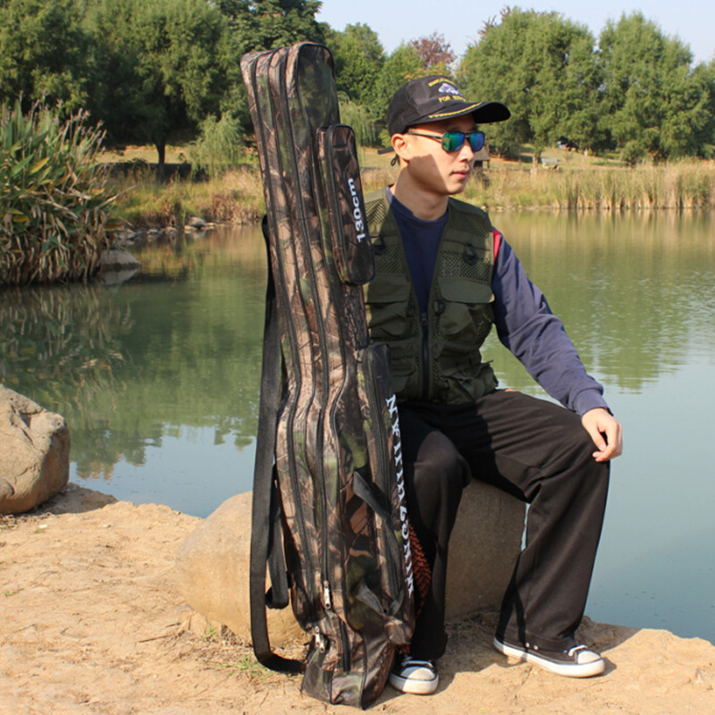 Sougayilang Fishing Rod Bag 130cm Camouflage Double Layer Waterproof Fishing Tackle Bag Canvas Fishing Bag <font><b>Backpack</b></font> Fishing Bag