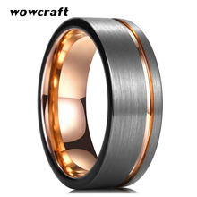 8mm Mens Tungsten Carbide Wedding Bands Rose Gold Black Man Engagement Ring Brushed Finish Tow Tone Offset Grooved Comfort Fit tow tone chevron tote bag